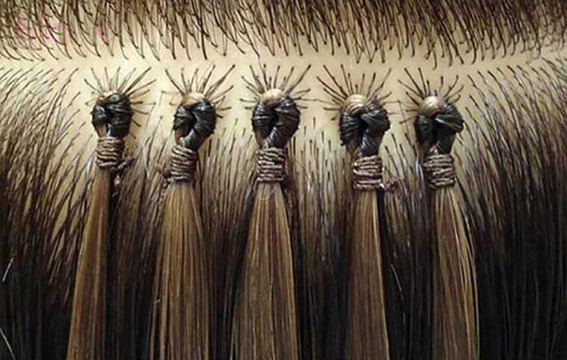 شستشوی موهای اکستنشن شده